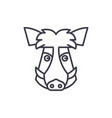 wild boar head line icon sign vector image vector image