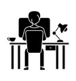 man working on computer on table sitting back icon vector image