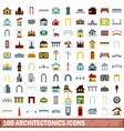 100 architectonics icons set flat style