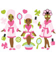 African American Spa Girls Set vector image