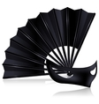black fan and dark mask vector image vector image