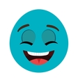 blue cartoon face smiling graphic vector image