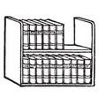 books or shelf vintage engraving vector image vector image