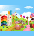 candy land with rainbow cake vector image