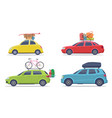 cars with luggage road trip vehicle with vector image vector image