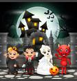 cartoon happy kids with halloween background vector image vector image