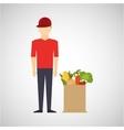 cartoon man red cap with shop bag healthy food vector image vector image