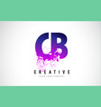 cb c b purple letter logo design with liquid vector image vector image
