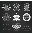 Chalk set of old bikes shop logo set vector image vector image