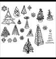 christmas trees hand-drawn for christmas vector image