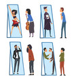 collection people standing in front mirror vector image vector image