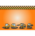 construction four minicar orange vector image vector image