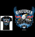 design for bikers with eagle and engine vector image vector image