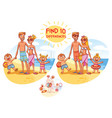 find the 10 differences happy family on vacation vector image