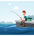 fishing in the dock vector image vector image