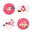 Flat background with hand vector image vector image