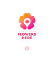 flowers here logo map marker flower delivery icon vector image