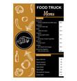 Food truck menu vertical on gold and black color