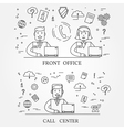 Front office and call center concept icon thin lin vector image vector image