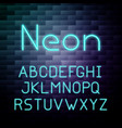 glowing neon alphabet vector image