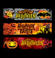 halloween set of horizontal grunge banners vector image vector image