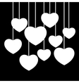 hanging white hearts vector image vector image