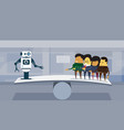 human vs robots modern robotic and business people vector image vector image