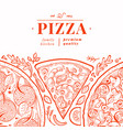 italian pizza banner template hand drawn vintage vector image vector image