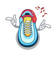 listening music cartoon sneaker with rubber toe vector image