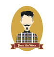 man hipster avatar user picture cartoon character vector image