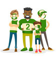 multiracial sport fans supporting their team vector image vector image