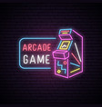 neon sign of arcade game machine vector image vector image