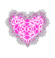 pink lacy heart for valentines day vector image vector image