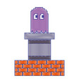 pixel ghost and wall brick game play arcade vector image vector image