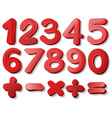 Red number vector image vector image