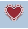 Red Paper Heart isolated on blue background vector image vector image