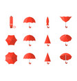 red umbrella icon in various style vector image vector image