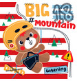 teddy bear climbing up on mountain using rope vector image vector image