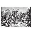 the israelites gather manna sent by god vintage vector image vector image