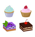 various cakes with cupcakes vector image