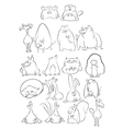 Black and White Cartoon Animals vector image