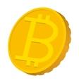 Gold coin with Bitcoin sign icon carton style vector image