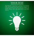 light bulb flat icon on green background vector image