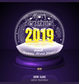 2019 yellow snow globe on violet background merry vector image