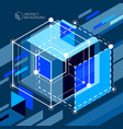 abstract geometric 3d elements in futuristic vector image