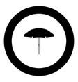 beach umbrella icon black color in circle vector image vector image