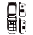 black and white cellular phone set vector image vector image