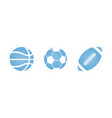 blue sport halftone dotted a balls set for vector image