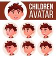 boy avatar set kid kindergarten face vector image vector image