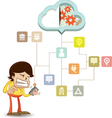 Business man using a smart phone on a cloud vector image vector image